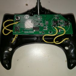 closeup of inside of switch adapted remote control