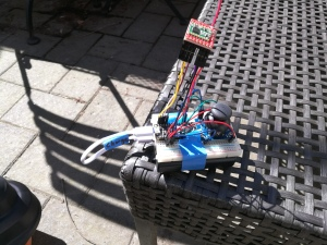 breadboarded prototype of Wild Thing remote control
