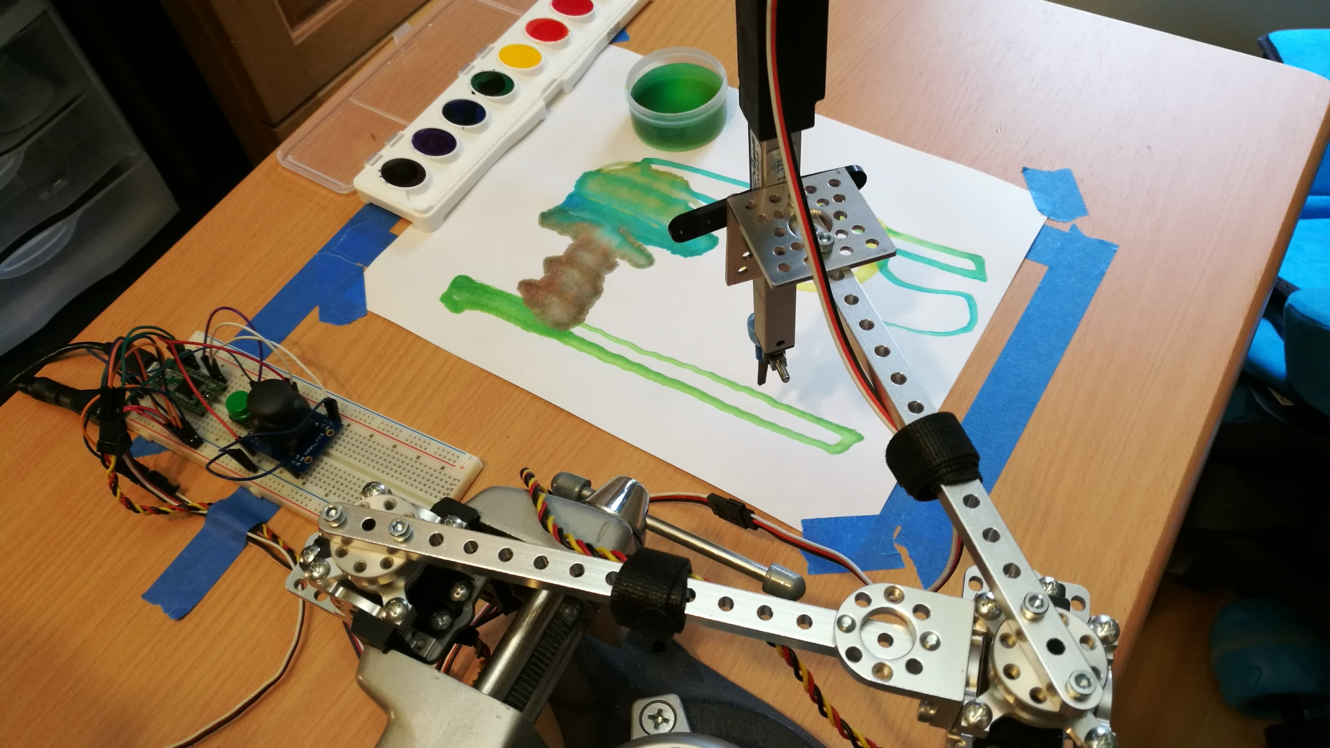 robotic painter with its painting