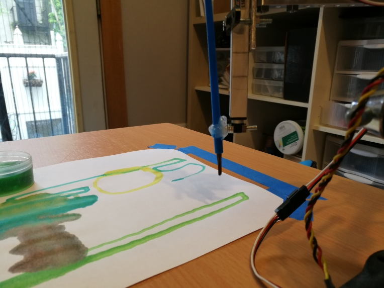 paintbrush and painting of robotic painter