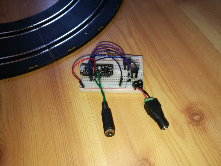 breadboarded electronics for switch adapted slot cars