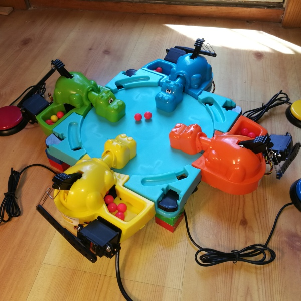 full switch adapted Hungry Hippos setup