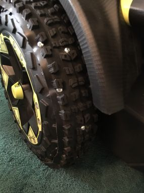 rubberized treads added to the stock plastic wheels