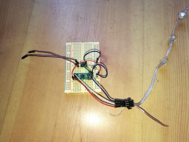 early breadboarded test of controlling a SSR through a WS2811 LED driver chip
