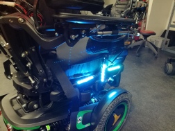 closeup of motorcycle LED strips on power wheelchair