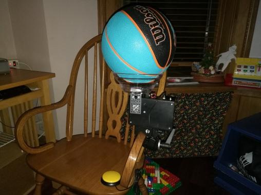 full Slam Dunk 2.0 setup on chair for testing
