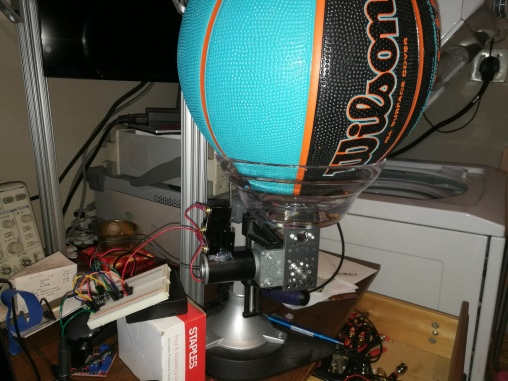 initial dump-style prototype holding ball