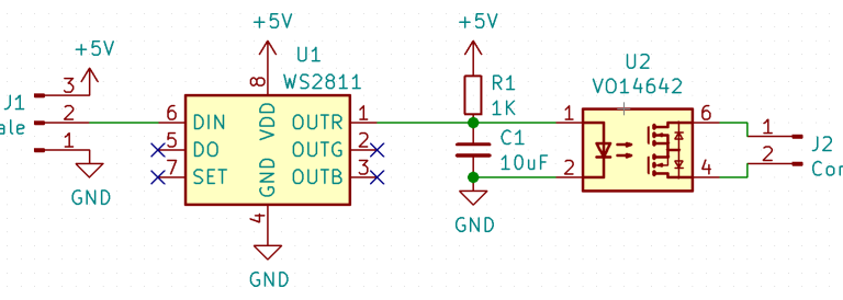 schematic for controlling SSR from LED strip