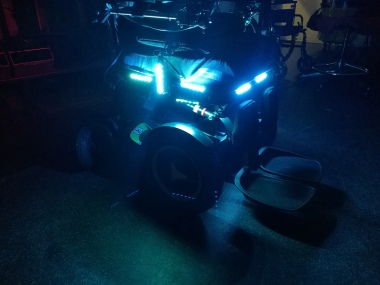 motorcycle LED strips as power wheelchair headlights